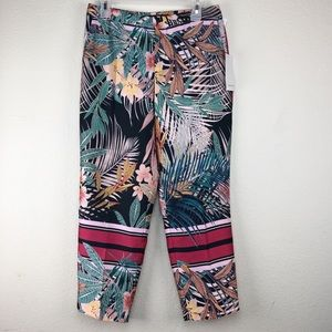 Zara Tropical Medium Trousers Pants Leaf Palms